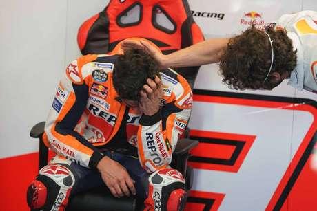 Marc Márquez se emocionou muito após finalizar a primeira corrida em nove meses