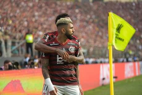 Gabriel Barbosa comemorando um dos 11 gols que tem pelo Flamengo na Libertadores (Foto:  Alexandre Vidal / CRF)