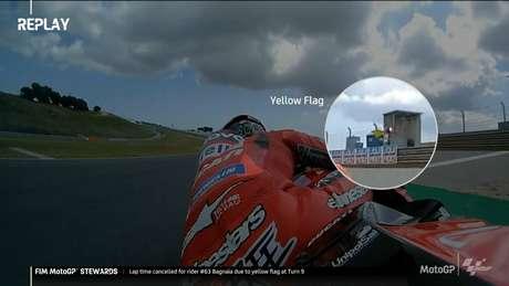 Francesco Bagnaia foi punido por desrespeitar bandeiras amarelas na classificação do GP de Portugal