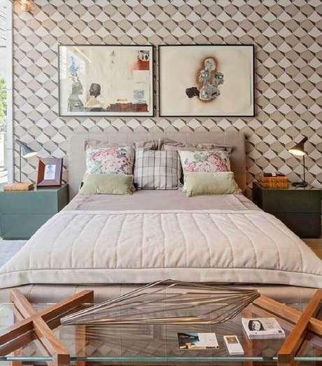 48. Papel de parede 3D para decoração de quarto de mulher moderno – Foto: Machado & Weiss