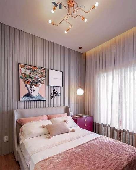 55. Revestimento 3D para decoração de quarto de mulher moderno – Foto: Eu Capricho