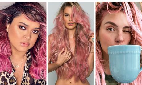 Preta Gil, Yasmin Brunet e Carolina Dieckmann de cabelo rosa (Fotos: Reprodução/Instagram)