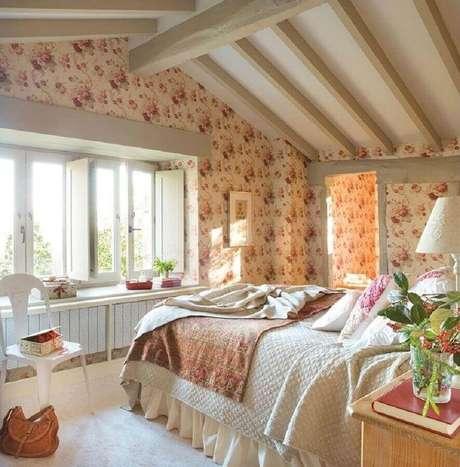 37. Decoração de quarto de mulher romântico com papel de parede floral – Foto: Pinterest