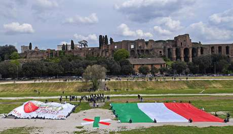 Comemoração do 'Natal de Roma' no Circo Máximo, na área arqueológica da capital italiana