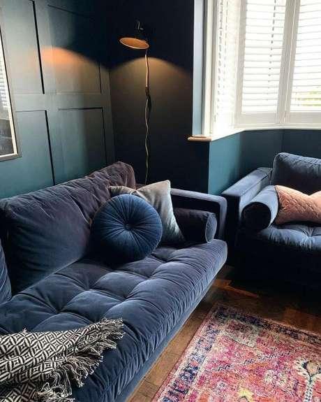 15. Conjunto de sofá azul marinho – Foto Pinterest