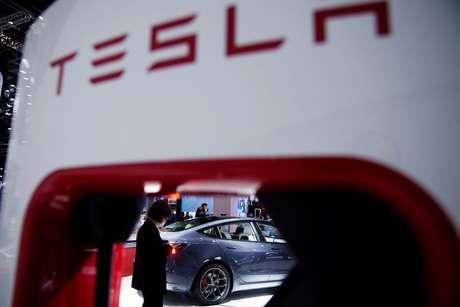 Veículo da Tesla em feira automotiva na China. 20/4/2021. REUTERS/Aly Song