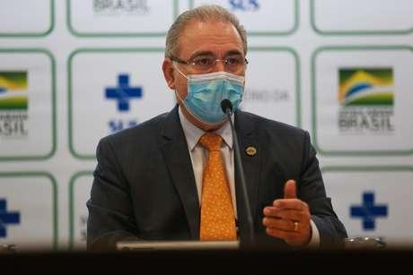 O Ministro da Saúde Marcelo Queiroga com seus secretários concedem entrevista coletiva em Brasília