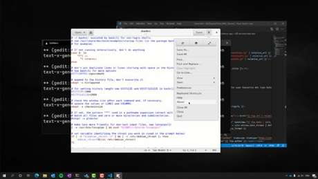 gedit do Linux rodando no Windows 10