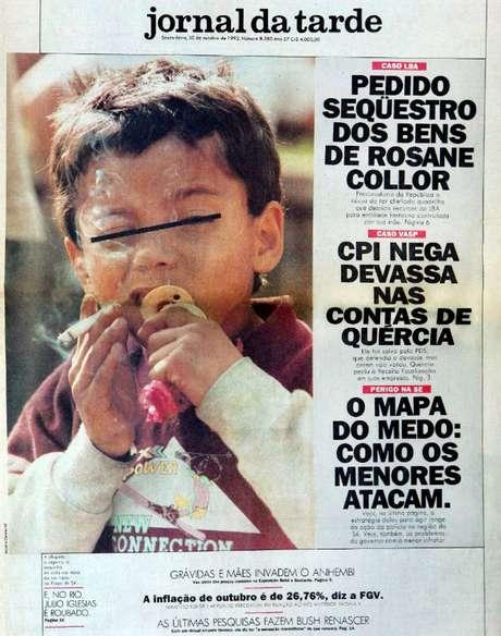 Foto de Maurilo Clareto mostra criança afastandoa chupeta da boca para tragar um cigarro e foi publicada na capa do Jornal da Tarde, em 30 de dezembro de 1992