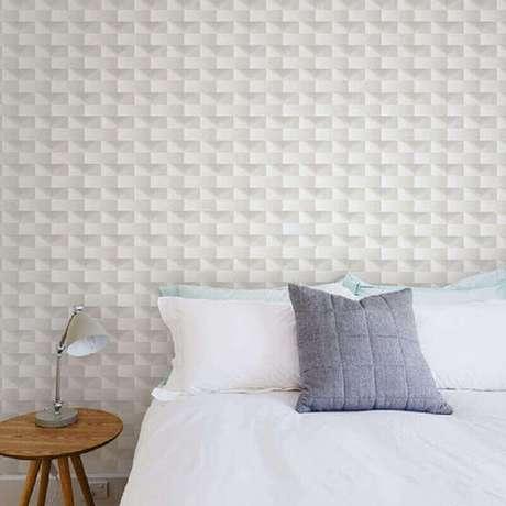 6. Decoração com papel de parede 3D para quarto feminino branco – Foto: Taboa Ferragens e Decor