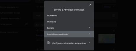 Como apagar histórico do Google Maps na versão web