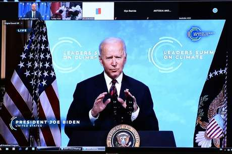 Biden na Cúpula do Dia da Terra  22/4/2021    REUTERS/Johanna Geron