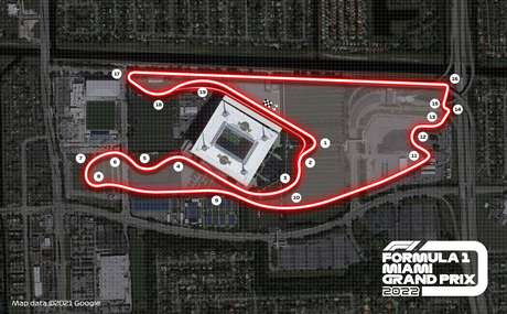 Posicionamento das curvas do novo circuito urbano de Miami Gardens a partir de 2022