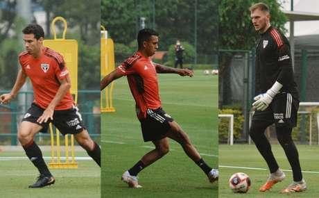 Hernanes, Igor Vinícius e Lucas Perri no treino desta quinta-feira (Foto: Reprodução/ Twitter @SaoPauloFC)