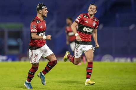 Arrascaeta comemora o gol da vitória sobre o Vélez (Foto: Marcelo Cortes/Flamengo)
