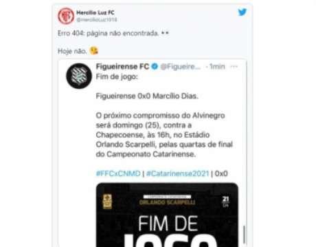 Adversários zoam Figueirense por eliminação no Estadual (Reprodução/Twitter Hercílio Luz)
