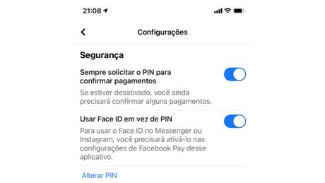 Habilitando o PIN e biometria no Facebook Pay