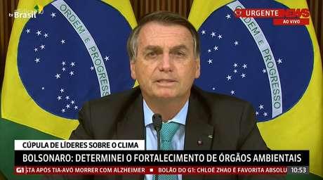 Bolsonaro caprichou nas cores em referência ao Brasil em sua aparição no evento on-line