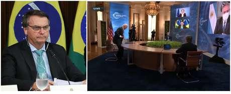 olsonaro pouco antes de entrar no ar; e a saída de Joe Biden quando a imagem do presidente brasileiro já aparecia em monitor do East Room da Casa Branca