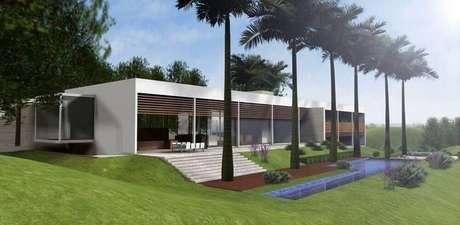 50. Casa de fazenda moderna com piscina