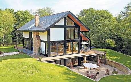 34. Linda fachada para casa de fazenda moderna