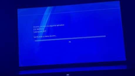 Tela de erro de Cyberpunk no PS4