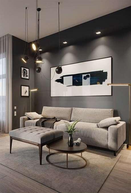 40. Decoração moderna em tons de cinza com quadro para sala grande – Foto: Architecture Art Designs