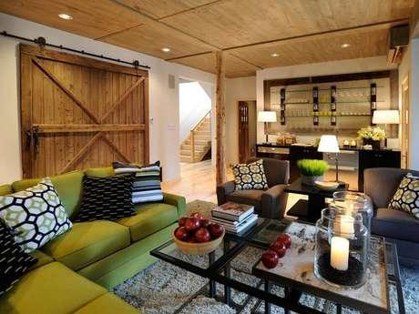 54. Decoração de sala de estar para casa de fazenda