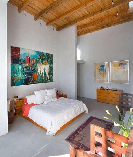 34. Quadro grande decorativo para quarto simples – Foto: Pinterest