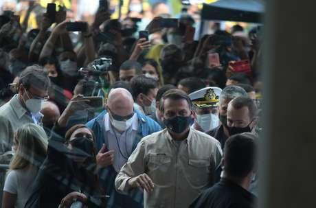 Presidente da República, Jair Bolsonaro (sem partido), durante inauguração da segunda etapa do Centro de Conveções do Amazonas Vasco Vasques, nesta sexta-feira (23) em Manaus (AM)