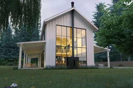 4. As casas de fazenda modernas podem misturar itens como madeira e vidro para trazer equilíbrio ao projeto.