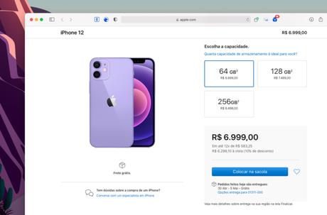 Pré-venda do iPhone 12 roxo no Brasil