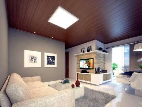 20. Forro de PVC texturizado na sala de estar