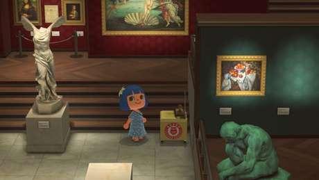 Missão de coleta de selos no museu de Animal Crossing: New Horizons