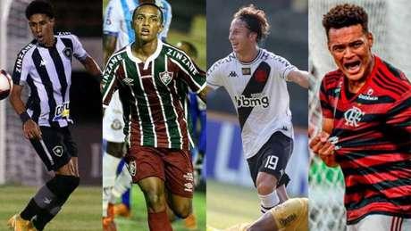 Todos os quatro grandes do Rio de Janeiro tiveram, em algum momento do Campeonato Carioca de 2021, promessas de suas bases como destaques (Montagem LANCE!)