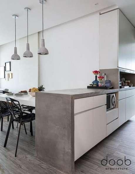 4. A bancada de cimento queimado é tendência em vários projetos. Fonte: Doob Arquitetura