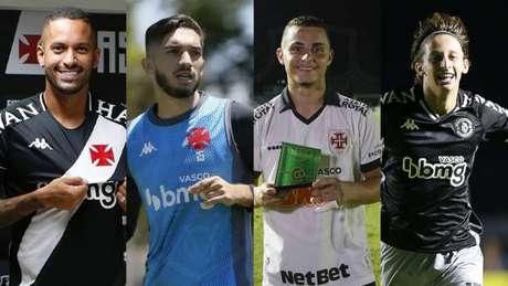 Romulo, Andrey, Bruno Gomes e Galarza são os principais volantes (Montagem Lance! Fotos: Rafael Ribeiro / Vasco)