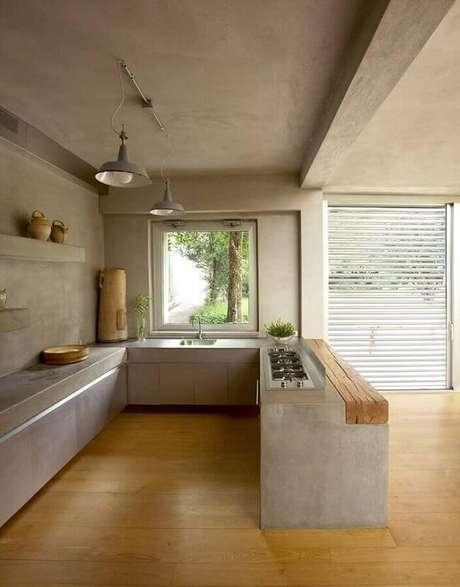 41. Escolha o material adequado para a sua cozinha com bancada de cimento queimado. Fonte: Zozu