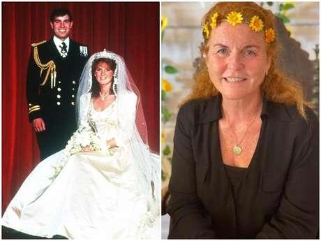 Sarah e Andrew na foto oficial do casamento, em julho de 1986, e a duquesa de York hoje, aos 61 anos, fazendo recreação no Instagram