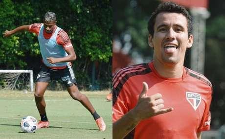 Orejuela e Pablo durante treino (Fotos: Reprodução/Twitter @SaoPauloFC)
