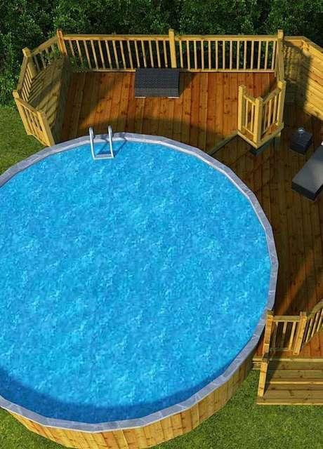 16. Projeto alternativo com uso de pallet para a piscina redonda. Fonte: Pinterest