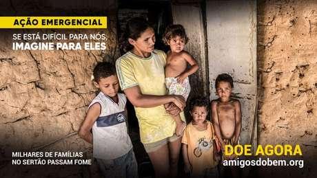 Anúncio da campanha contra fome da ONG Amigos do Bem