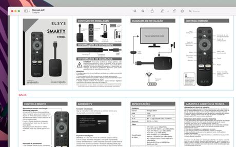 Manual do controle remoto da Elsys para Android TV