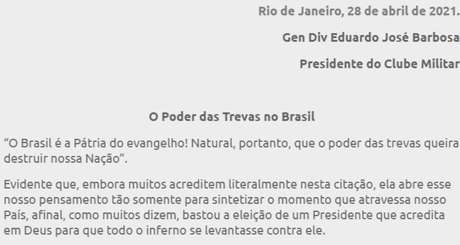 O presidente doClube Militar, general Eduardo José Barbosa, uma nota com críticas e ameaças aos Poderes Legislativo e Judiciário
