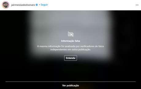 Aviso do Instagram em post de Bolsonaro
