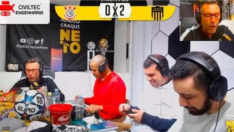 Neto perdeu a paciência com o Corinthians durante transmissão (Reprodução/Youtube)