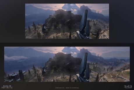 Halo Infinite em 21:9 (em cima) e 32:9 (embaixo) (