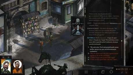 A jogabilidade é totalmente baseada em diálogos