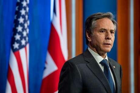 Secretário de Estado dos EUA, Antony Blinken, durante entrevista coletiva em Londres 03/05/2021 Chris J Ratcliffe/Pool via REUTERS