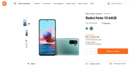 Xiaomi Redmi Note 10 à venda no Brasil